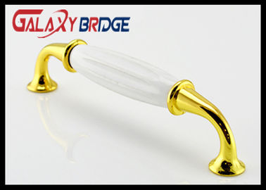 China Anti Corrosion Ceramic Handles And Knobs , Gold Plated Turkey Design  Porcelain Wordrobe Pulls supplier