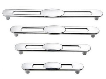 China Silver Kitchen Cabinet Handles And Knobs ,  Hollow DesignZinc Drawer Knobs Chrome Drawer Pulls supplier