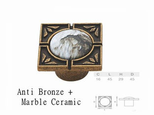 China Vintage Marble Ceramic Knob Antique Bronze Square Knobs Porcelain Furniture Handles supplier