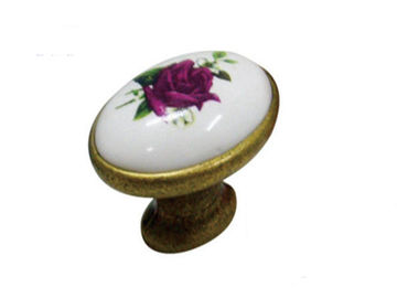 China Kitchen Cupboard  Door Knobs Ceramic Handles Antique Bronze Oval Porcelain Dresser Pulls supplier