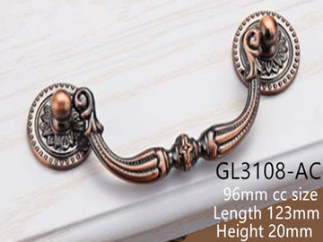 China Brass 37mm Curved Retro Knobs/ 64mm Bedroom Dresser Handles Antique Copper Ring Pulls supplier