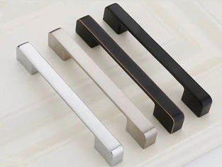 China Nickle Brushed Kitchen Cabinet Door Handles , Square Kitchen Cupboard Handles Zinc knobs supplier