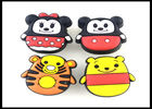Cute Animals Childrens Wardrobe Door Handles Rubber Yellow Tiger Knobs / Giraffe PVC Furniture Fittings