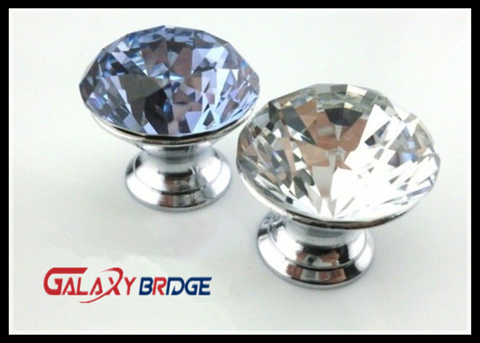 Cut Face Purple Crystal Drawer Handles And Knobs , Zinc Cupboard Knobs  Glass Crystal Drawer Knobs