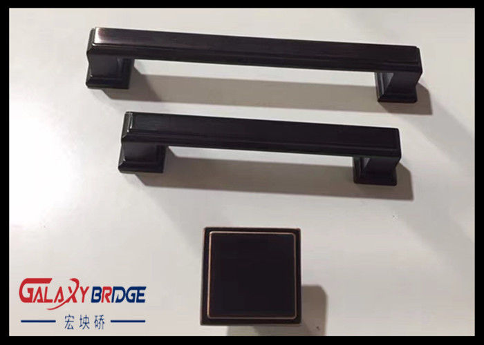 Plating Kitchen Cabinet Handles And Knobs , 96mm Black Kitchen Handles  Decoration
