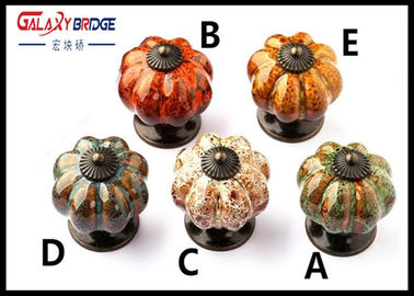 Colorful Pumpken Shape Ceramic Cupboard Door Knobs Porcelain Antique Bronze Crack Marble Pattern Knobs